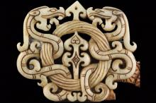 Old Chinese natural jade hand-carved statue of double dragon pendant NO.Y10