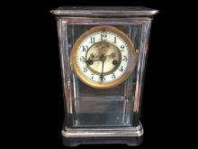 Late 19thc Nickel & Glass Waterbury Mantel Clock