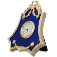 Faberge Inspired, Royal Blue Guilloche Enamel Russian Antique Style Clock in Frame