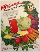 1940's V-8 Vegetable Juice Magazine Advertisement