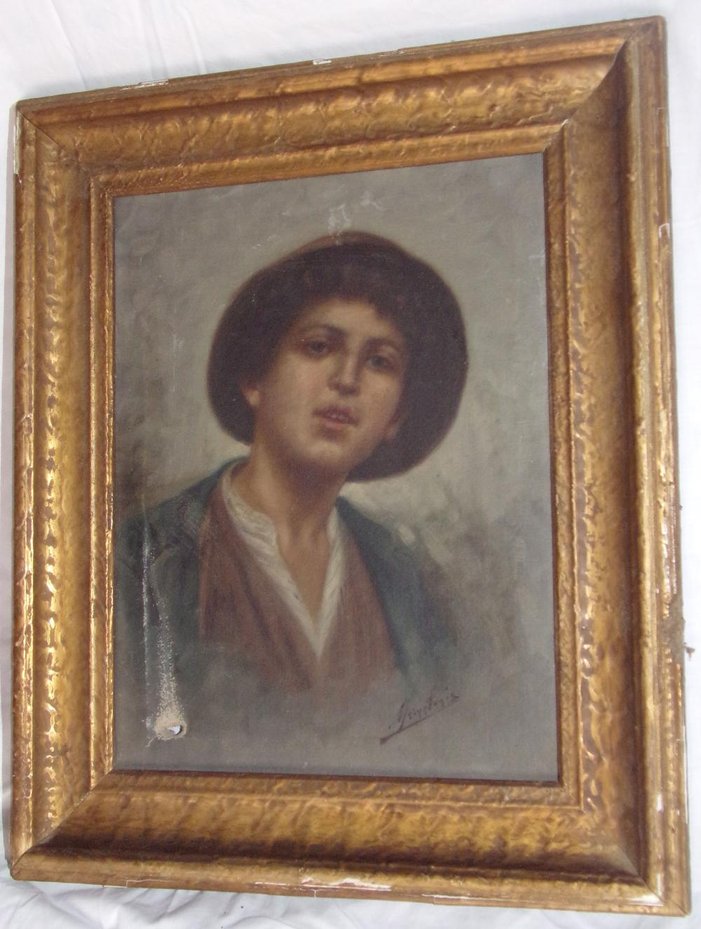 "Oil on canvas painting, portrait of a young man wearing a hat with brim & open collar, signed lower right, signature partially illegible, some paint loss & hole in canvas at lower left, mounted in a gold leaf frame, some gold leaf missing throughout, 10 ½"" x 8 ¼""; frame - 14"" x 11 ¾"""