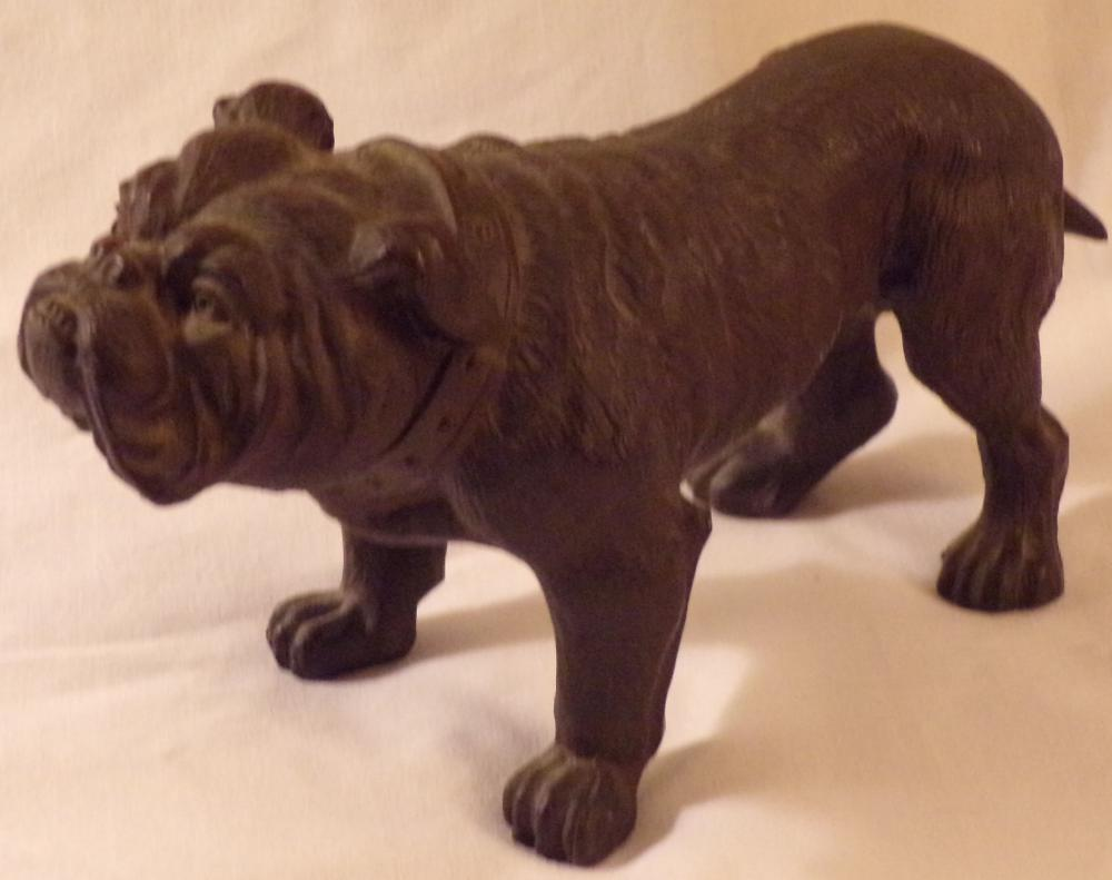 "Cast metal male bulldog figure, standing position with collar, darker bronze finish, 3 ¾"" T x 7"" L x 3"" W"