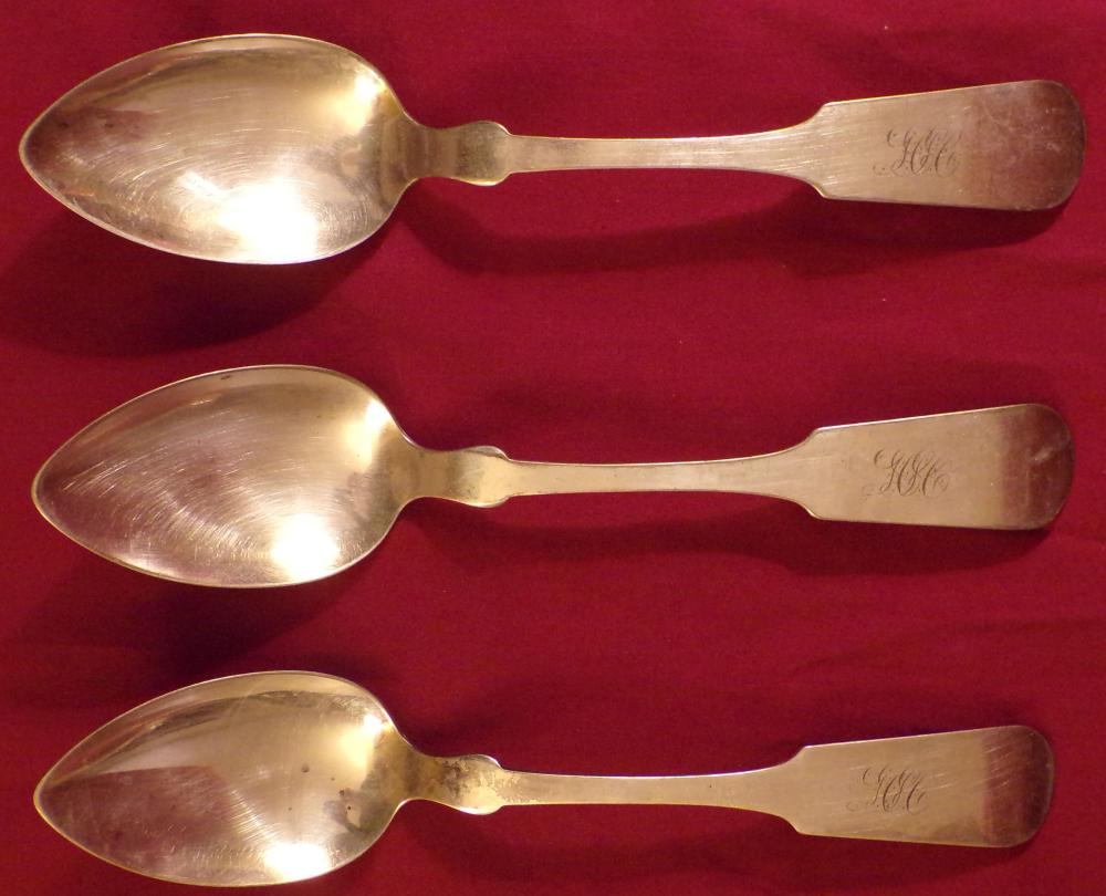 "Three (3) coin silver stuffing spoons by L. Boardman, monogrammed, each 8 5/8"" L, approx. 4.21 ozt."