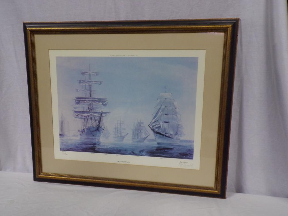 Framed nautical print entitled Tall Ships, Newport 1976, signed in pencil lower right Kipp Soldwedel, various ships are named including: Bluenose, Danmark, Sarges, Christian Radich, Erawan and Gorch Fock II, image