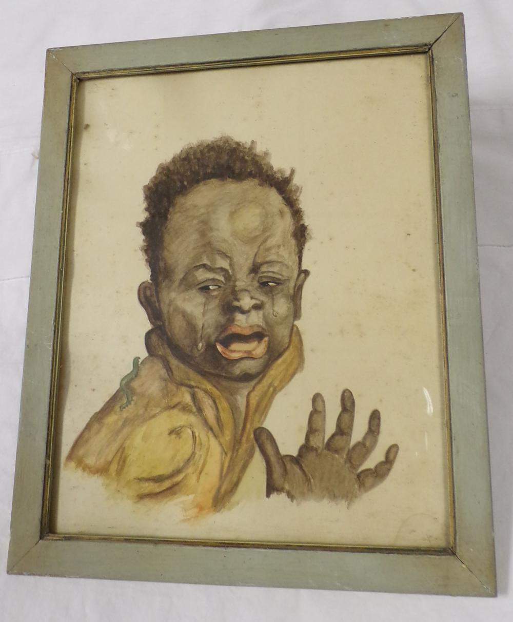 Framed watercolor portrait of an African American child crying, background shows some foxing & discoloration, unsigned