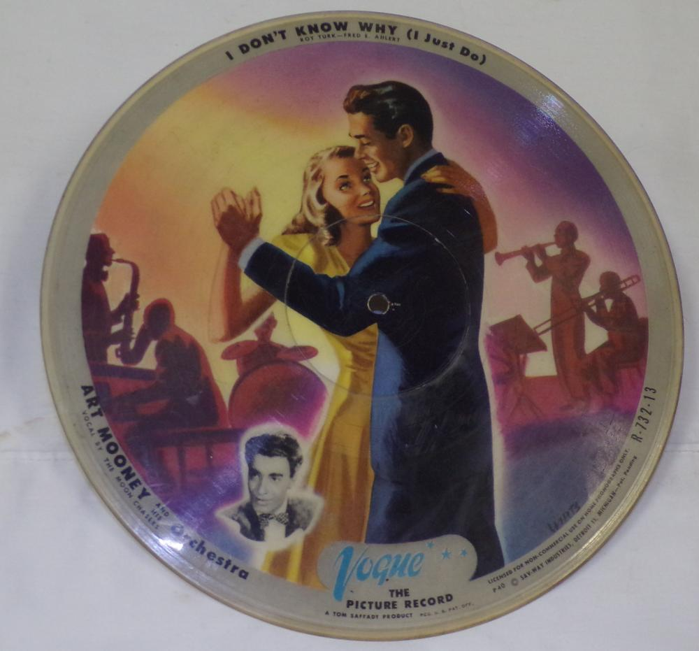 "Vintage Vogue Picture record, ""I've Been Working on the Railroad"" and ""I Don't Know Why"", by Art Mooney and his Orchestra, a Tom Saffady Product, Sar-Way Industries, #R-713-72, 9 7/8'' diameter"