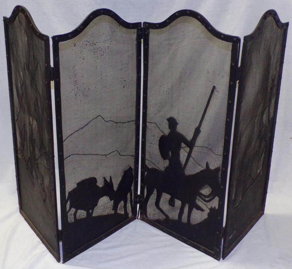 Iron & steel four section fire screen decorated with a tin silhouette design of man on horseback with barn & tree/landscape scene, 30 1/4'' H x 56'' W (totally extended)