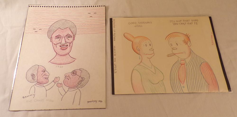 "Grouping of 2 color illustrations including Maggie and Jiggs, signed Savitsky, 65, 8 7/8"" x 11 ¼"" AND Sammy, Candy Man, signed Savitsky, 1990, 12"" x 9"""