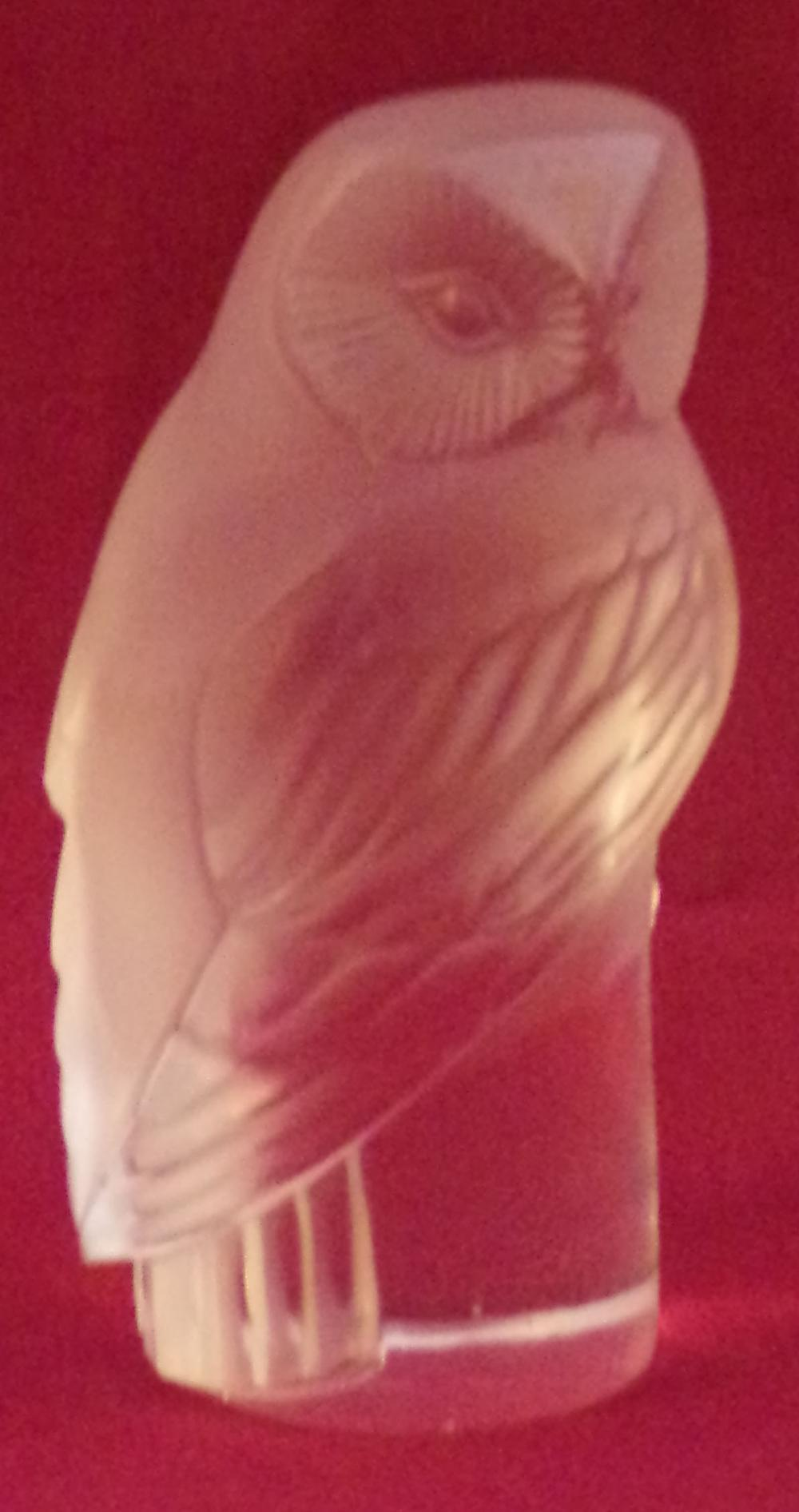 "Crystal owl form figurine signed Lalique, France, approx. 3 3/8"" T x 1 ¼"" base diameter"