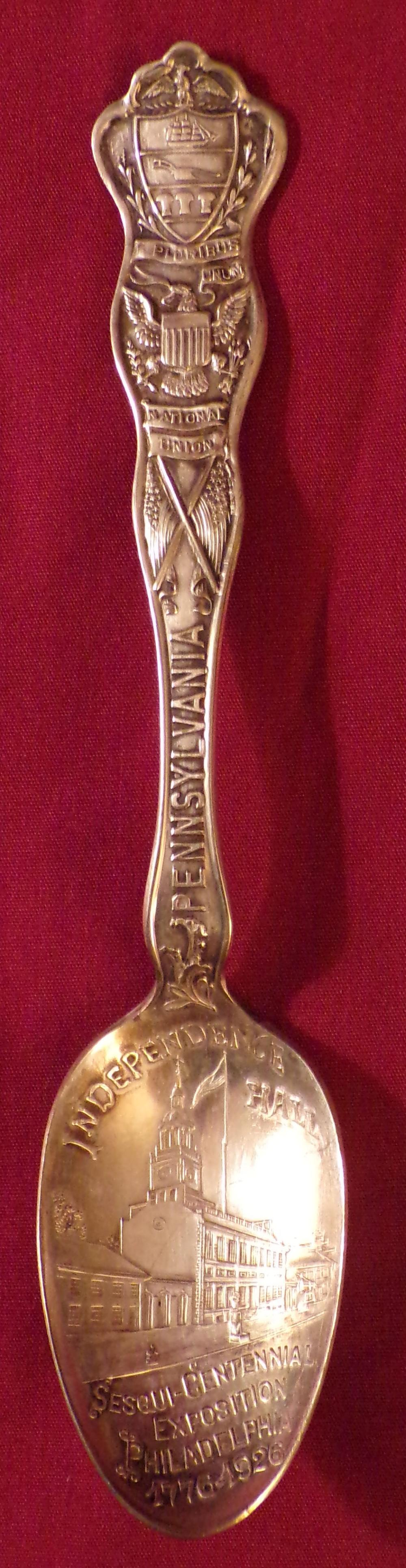Silver plated commemorative teaspoons marked Pennsylvania – Independence Hall, Sesqui-Centennial Exposition, 1776-1926, by Wallingford Co., A-1