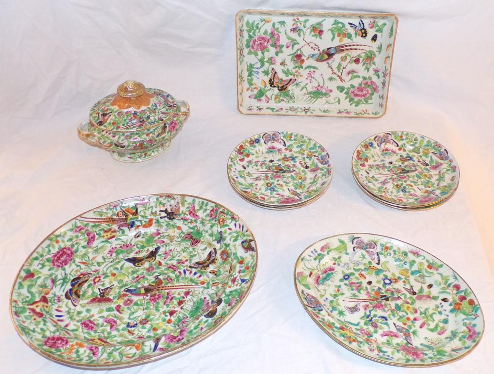 "Grouping of later Rose Medallion china decorated with butterflies, bird, insects, roses & leaves; includes a small   oval covered dish with ""twisted handles"", some gold paint loss, approx. 6"" T x 8 ¼"" L x 5 ½"" W; rectangular   tray – 1 ¼"" T x 12 ½"" L x 8 3/8"" W; large oval platter – 1 7/8"" T x 14 3/8"" L x 12"" W; small oval platter – 1 1/8"" T   x 11 ½"" L x 8 ¾"" W (hairline crack visible); 6 plates – each 7 ¾"" diameter; AND 3 other plates – all with damage (these pieces not photoed)"