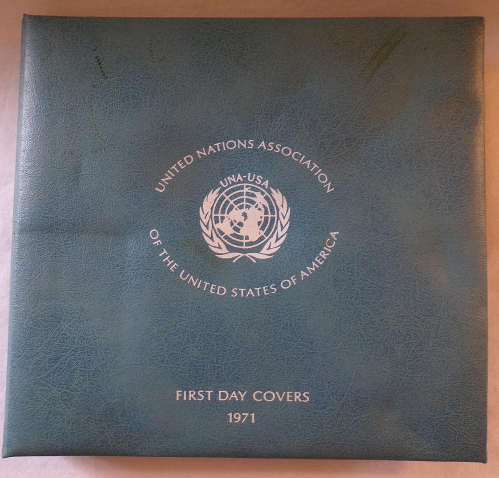 Collection of 6 First Day Covers by the United Nations Association Of The United States Of America, 1971, each  first day cover has an official sterling silver commemorative medal.  Includes: 1) The Seabed; 2) International  Support For Refugees; 3) World Food Programme; 4) Universal Postal Union; 5) Elimination Of Racial Discrimination;  and 6) United Nations International School, all assembled in a light blue portfolio cover