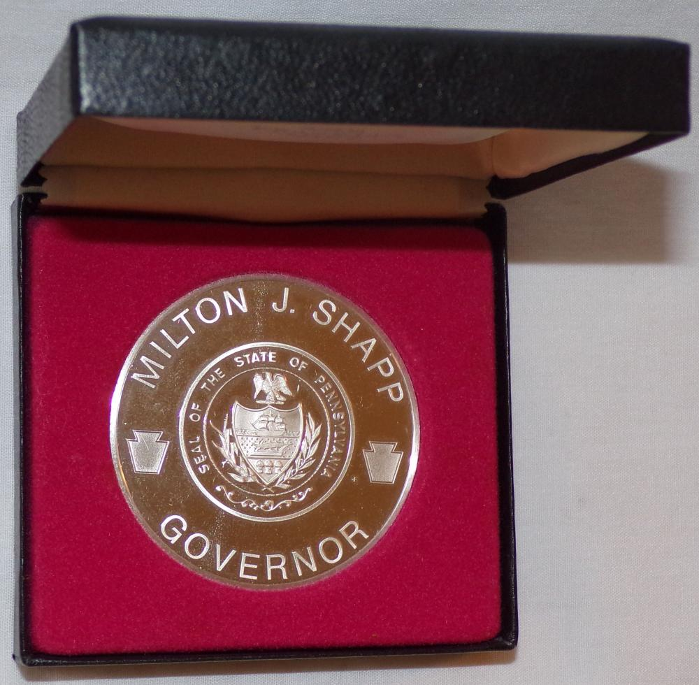 "Sterling silver commemorative medal – Milton J. Shapp, Governor, United Nations Visits, Pennsylvania,   June 12, 1977, mounted in a custom made box marked The Franklin Mint, Medal – 2"" diameter"