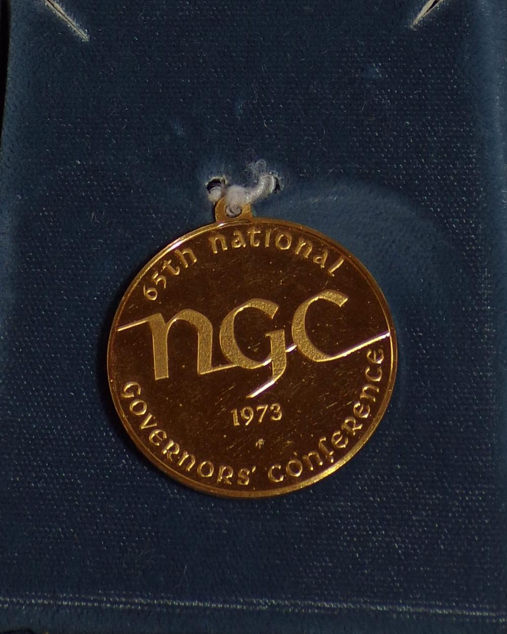 "18K gold commemorative medal for the 65th National Governor's Conference, 1973, Lake Tahoe, Nevada,   1 ½"" diameter, mounted in a custom made box marked The Franklin Mint"