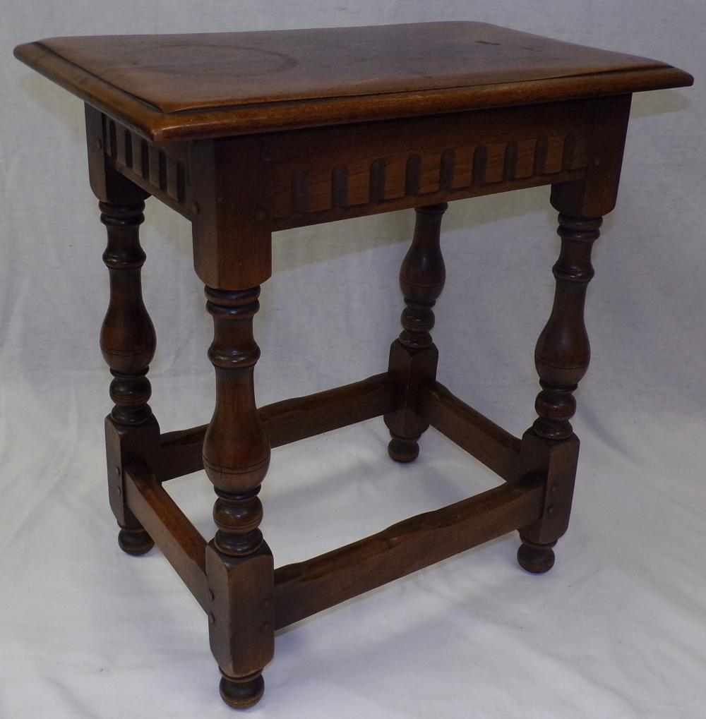 Early 20th C Walnut Joint Stool