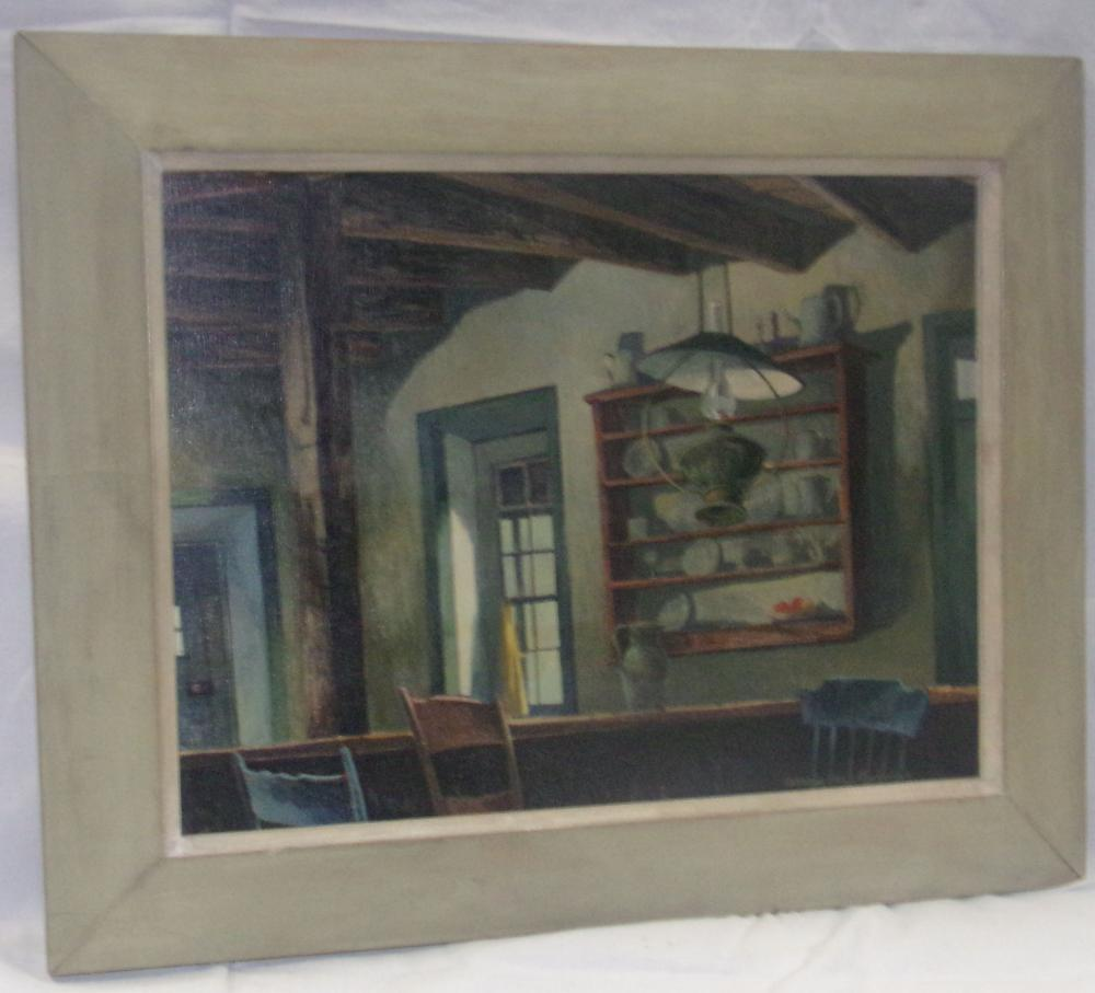 Framed Oil on Board Interior Still Life Painting - Katharine Steel Renninger