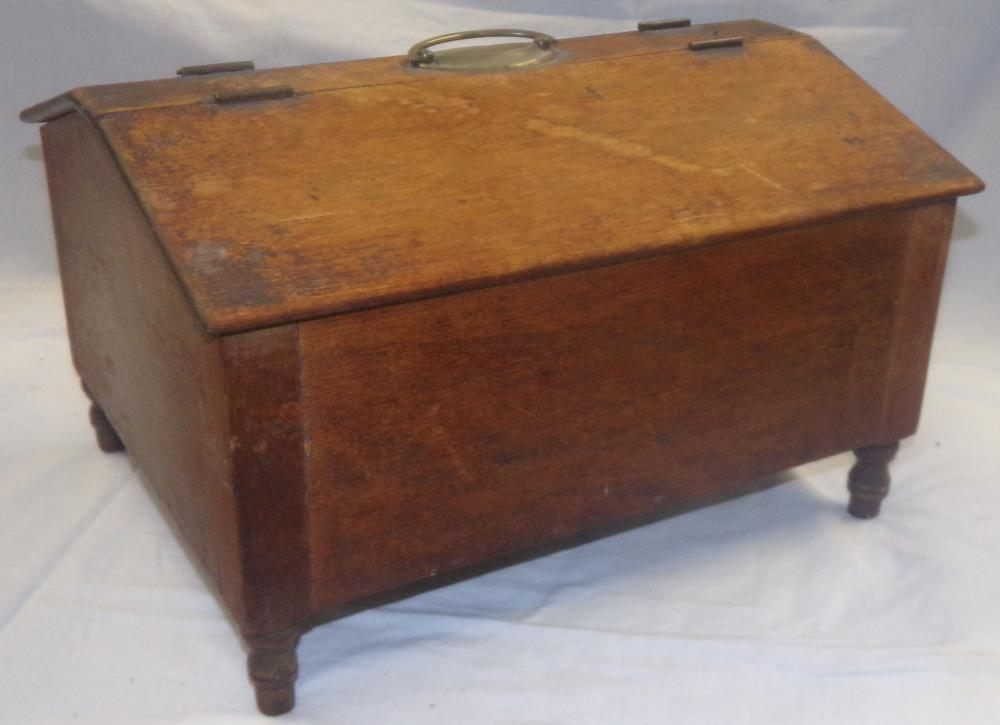 19th C Softwood Box Having Two Hinged Slant Lids