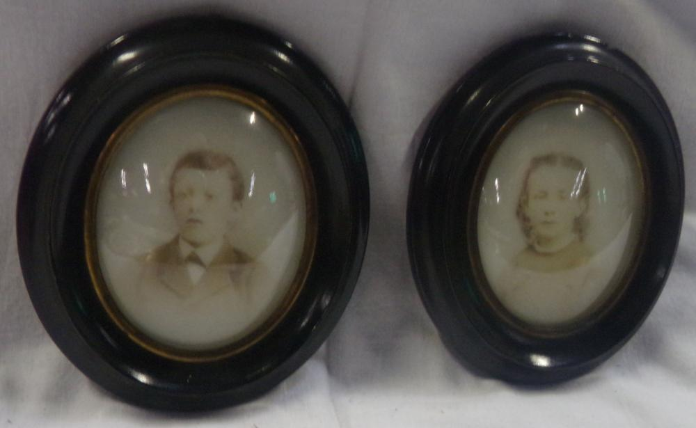 Pair of Victorian Portrait Photographs of Young Boy & Girl - Trego Family