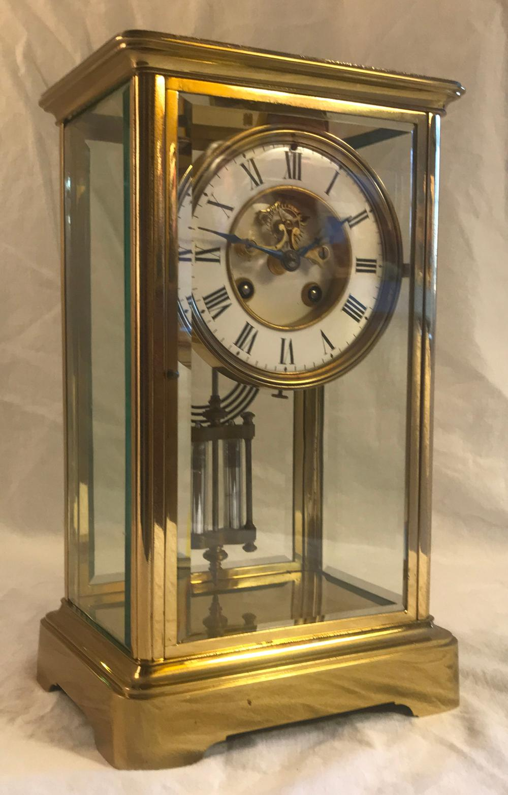 Crystal Regulator Clock French Movement Marked Le Marte, Me Dialle De Bronze