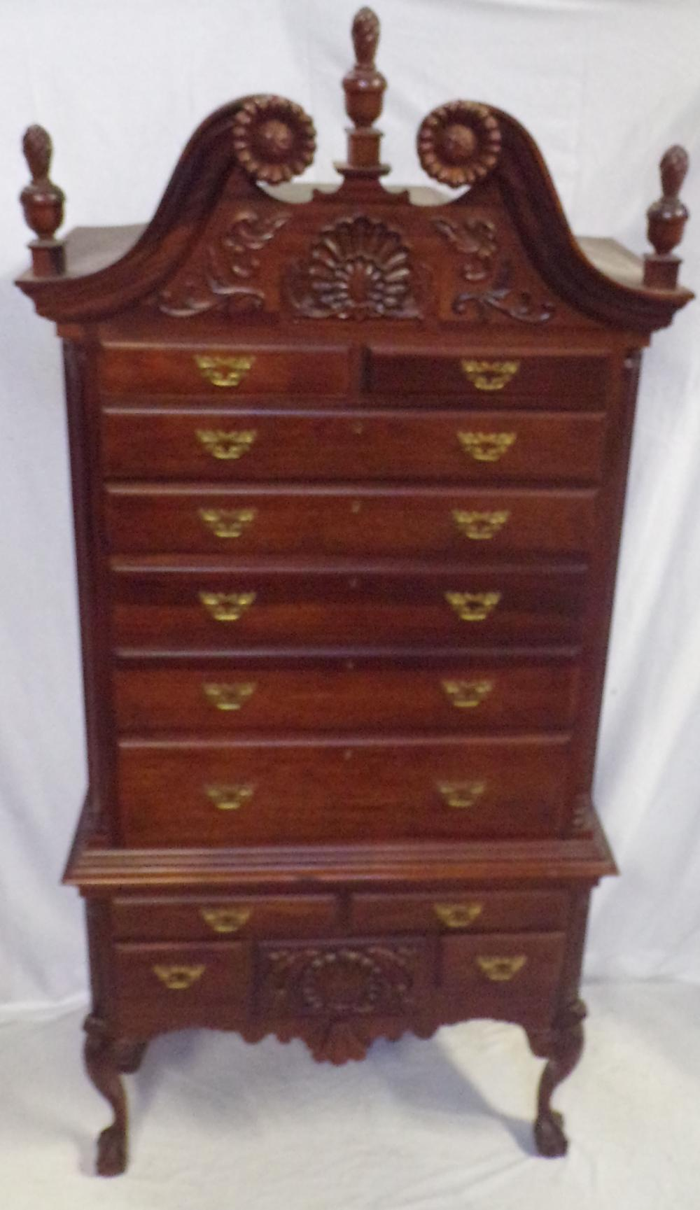 Stylized Chippendale Mahogany Highboy in 2 Pieces