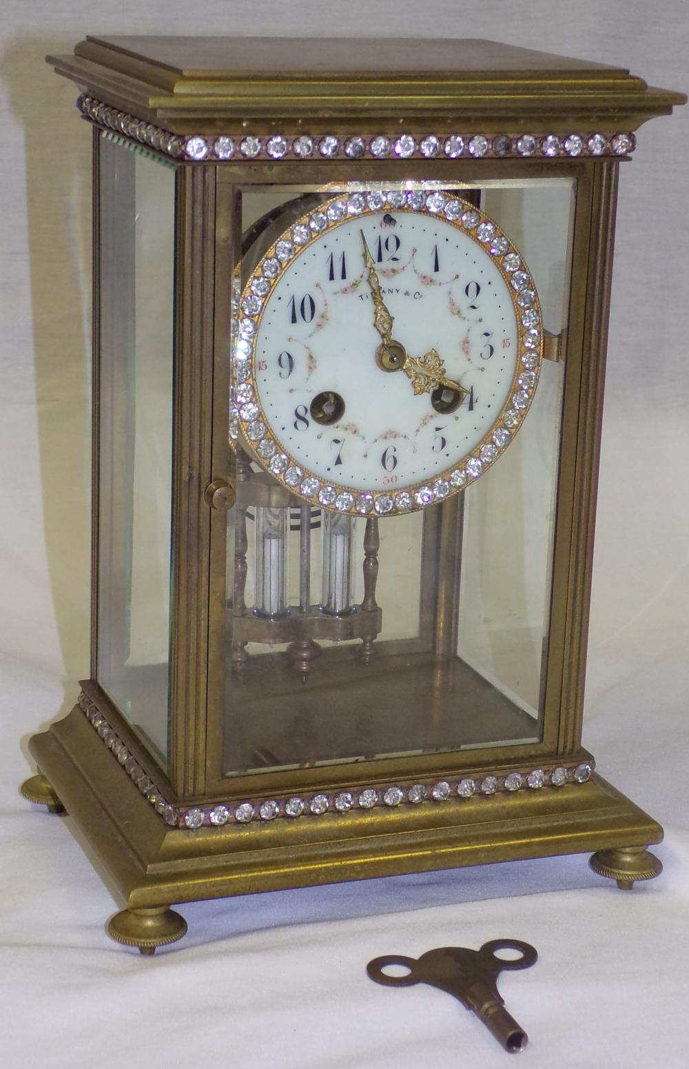 Crystal Regulator Shelf Clock Marked Tiffany & Co