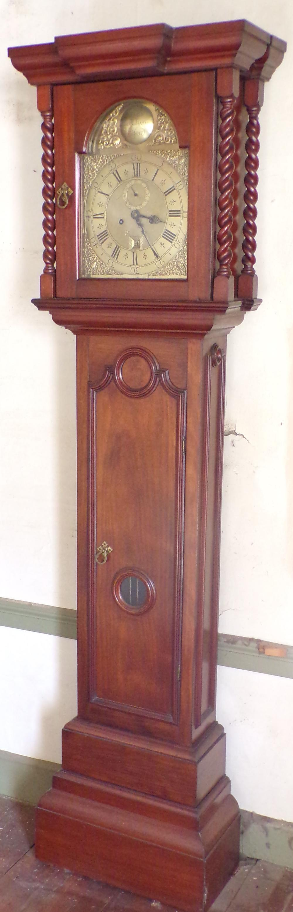 English Mahogany Tall Case Clock-Signed in Script James Goodyear
