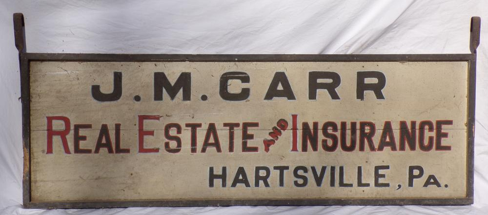 Vintage Single Sided Advertising Sign Reading J.M. Carr Real Estate and Insurance, Hartsville, PA