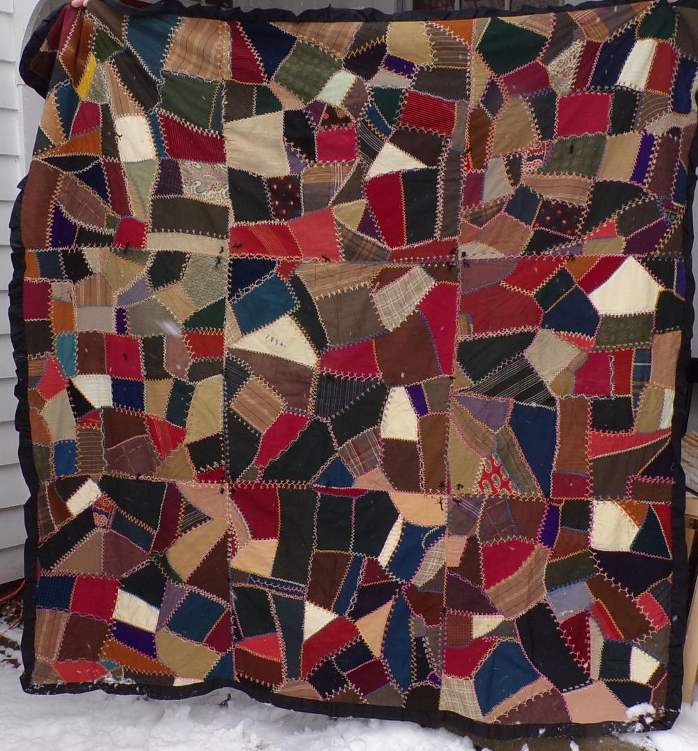 Late Victorian Crazy Quilt w/Black Fabric Backing - 1896