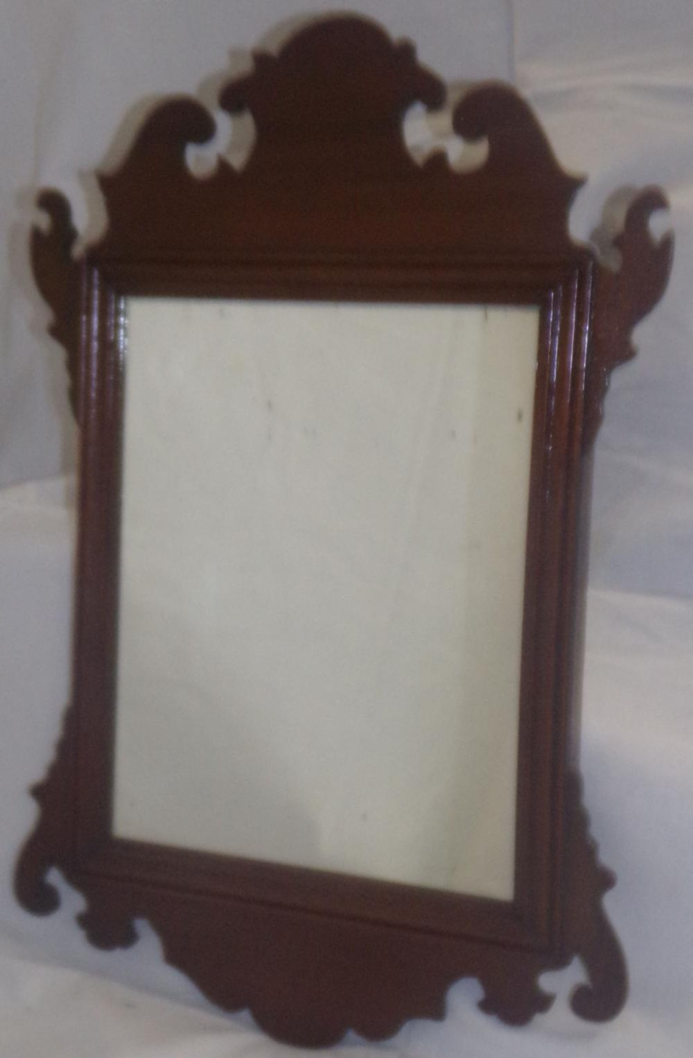 Small 18th C Mahogany Fret Work Mirror