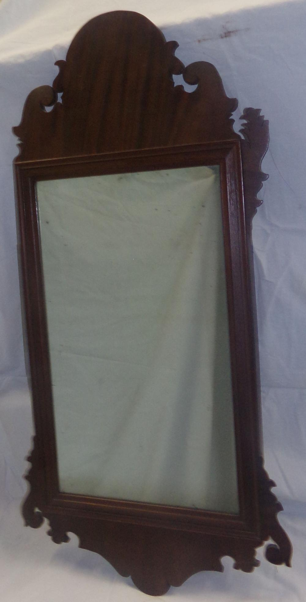 18th C American Mahogany Veneer Fret Work Mirror