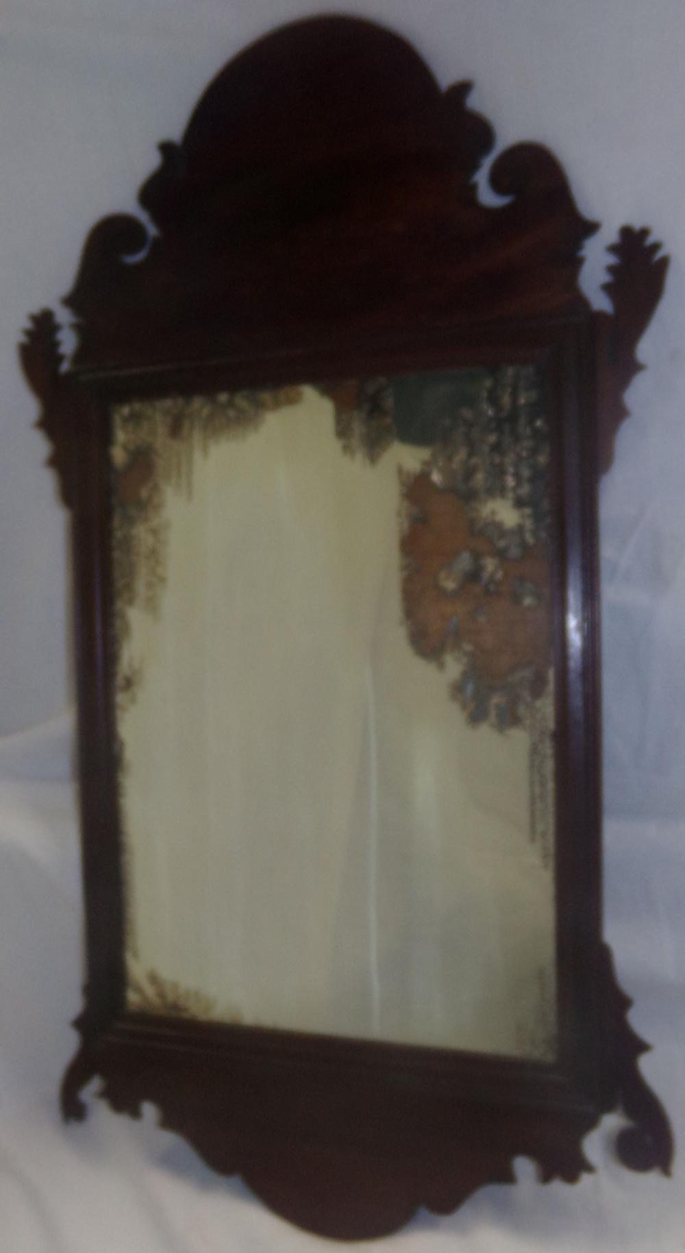 18th C American Mahogany Fret Work Mirror