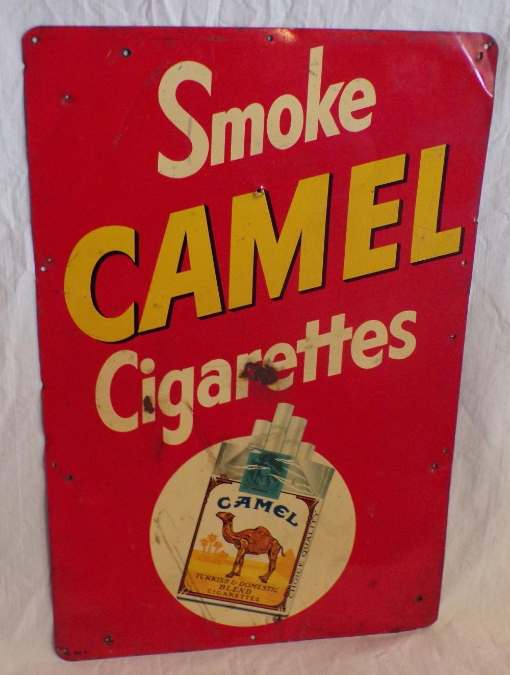Vintage Tin Advertising Sign-Smoke Camel Cigarettes