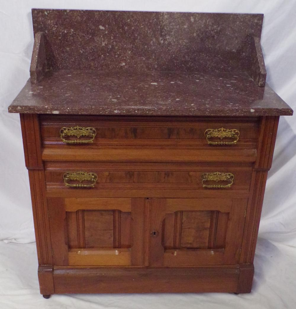19th C Victorian Walnut Washstand w/Tennessee Red Marble Top & Splashback