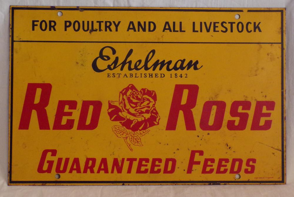 Vintage Steel Advertising Sign for Eishelman Red Rose Guaranteed Feeds