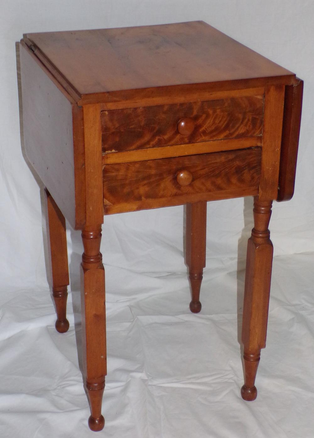 19th C Cherry Drop Leaf Work Table w/2 Drawers