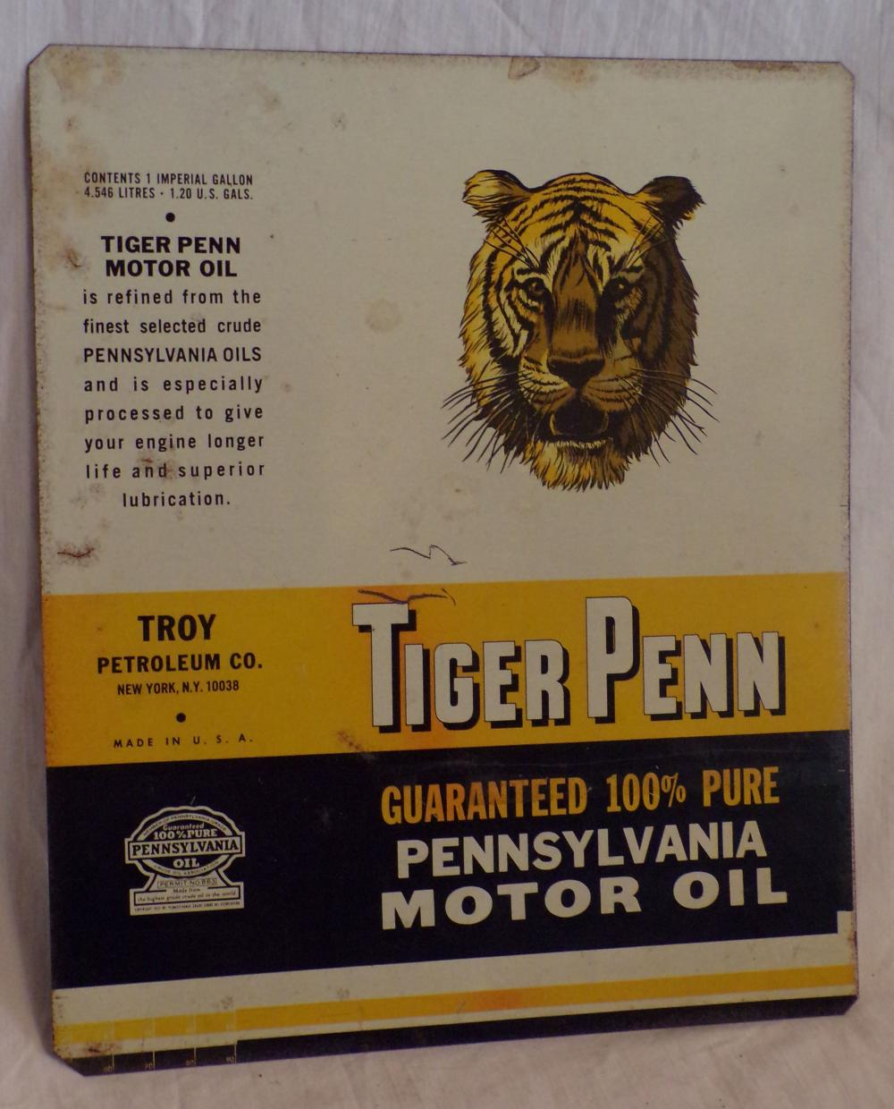 Tin Advertising Sign for Tiger Penn, Pennsylvania Motor Oil, Troy, Petroleum Co., New York, NY