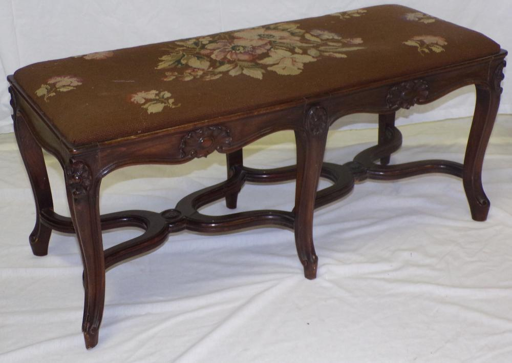 Stylized French Carved Window Bench w/Needlepoint Seat
