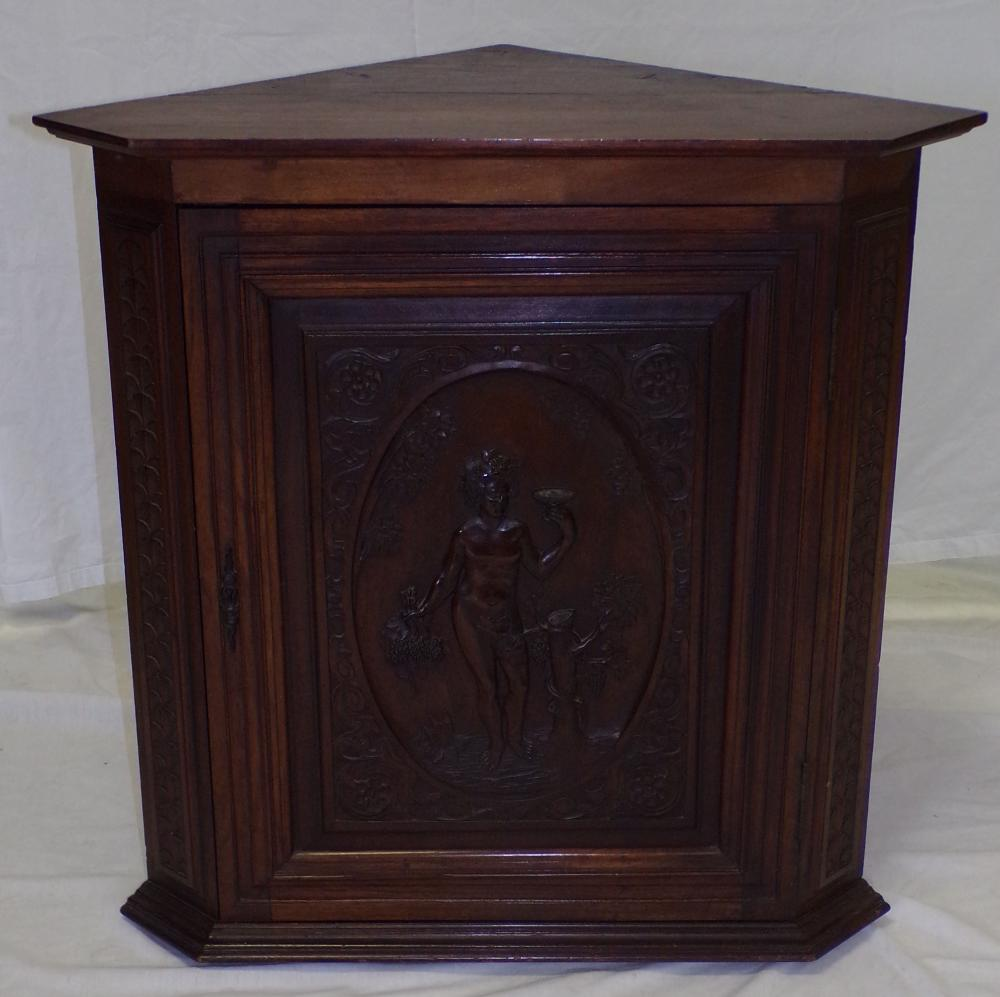 19th C European Walnut Corner Cabinet