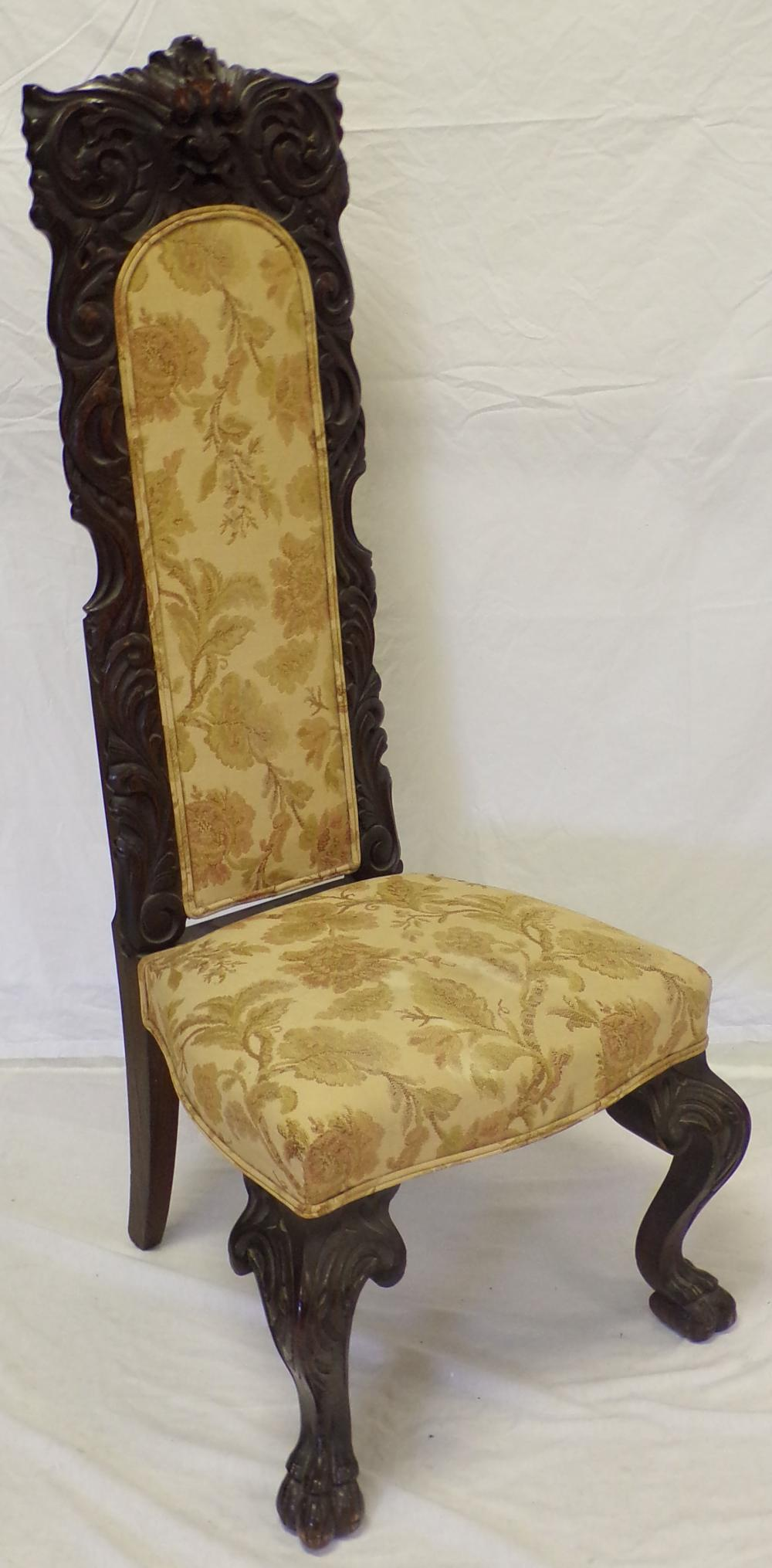 Late 19th/early 20th century carved oak high back side chair
