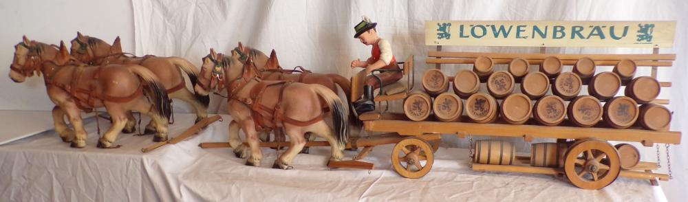 Lowenbrau wooden advertising horse drawn beer wagon