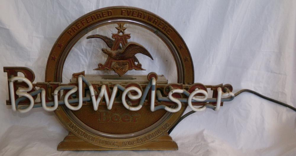 Vintage Budweiser neon sign in cast metal & tin