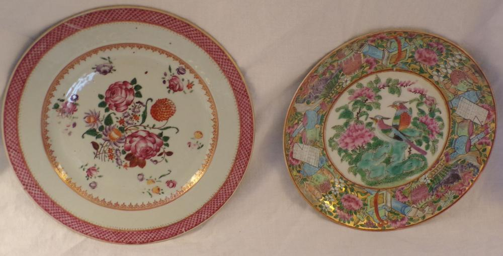 "2 china plates including 1 plate with pink lattice work handpainted rim and roses & other flowers with handwritten  label on base, 9 1/8"" diameter AND a rose medallion plate decorated with urns & birds, 8 3/8""  diameter"