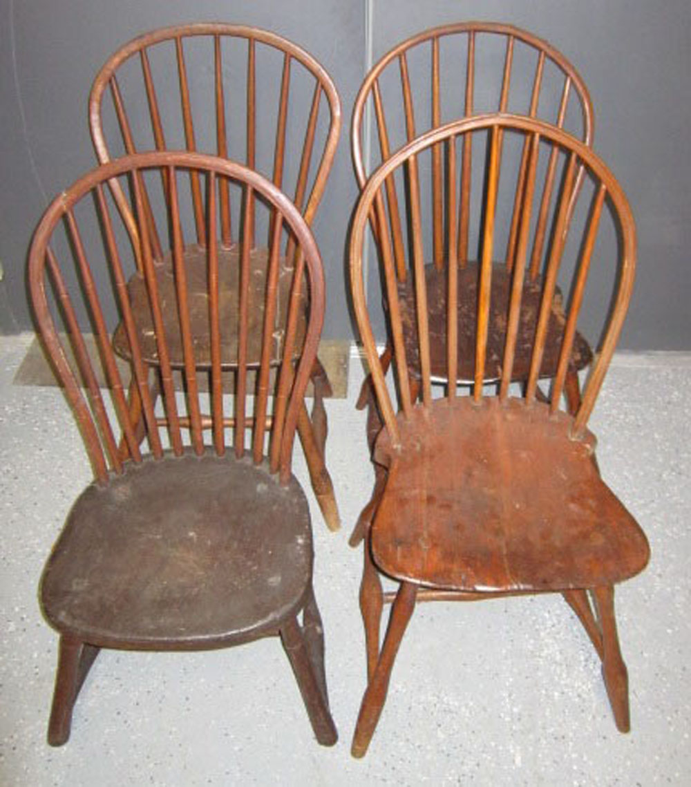 Early 19th C Assorted American Windsor Hoop Side Chairs