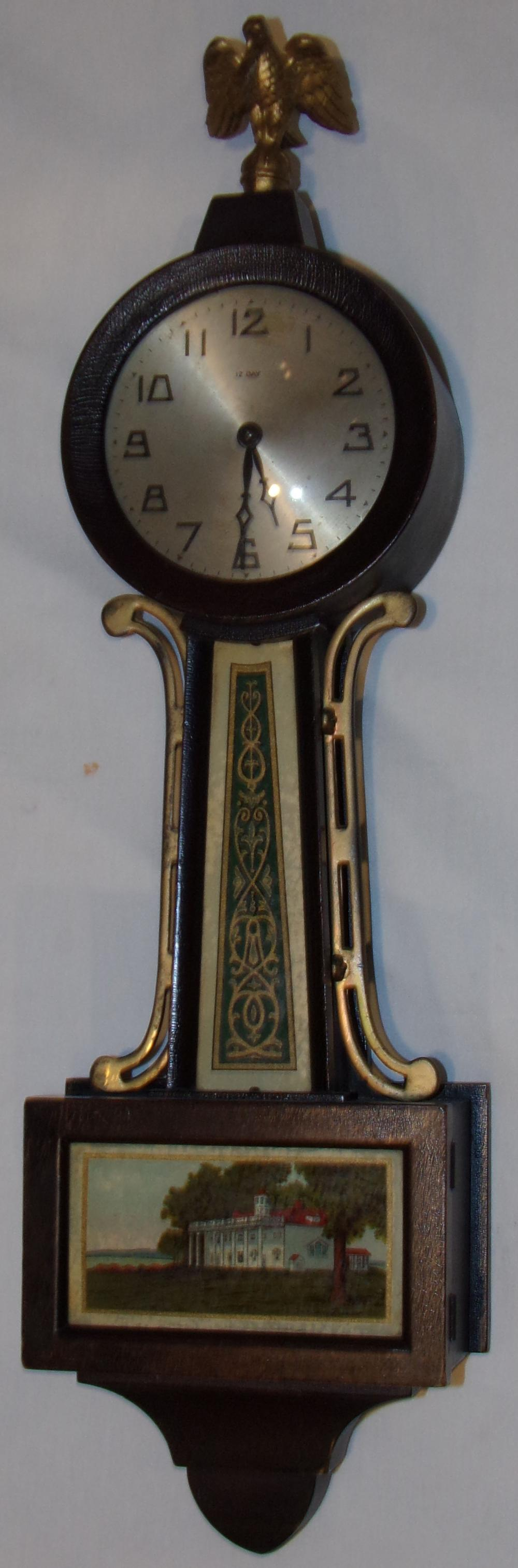 Early 20th C Miniature New Haven Banjo Clock
