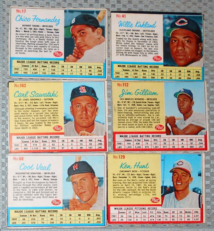 1962 Post Cereal Baseball Card Lot 6
