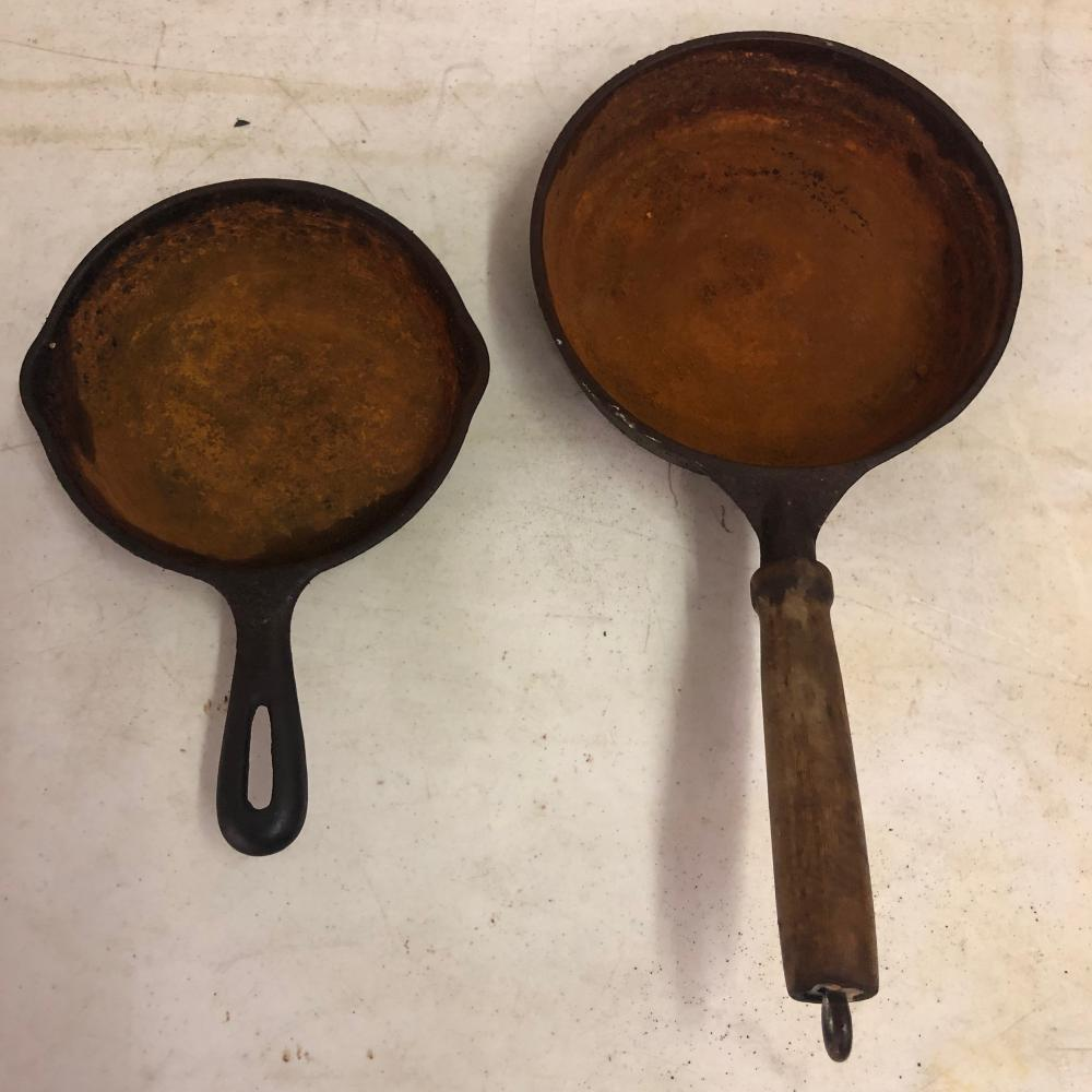 2 Cast Iron Skillets 8'inch, and a 6' inch
