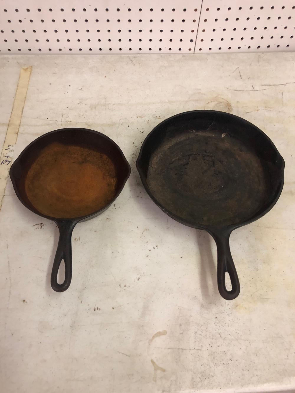 2 Cast Iron Skillets 10 1/2' Inch, and a 8' Inch
