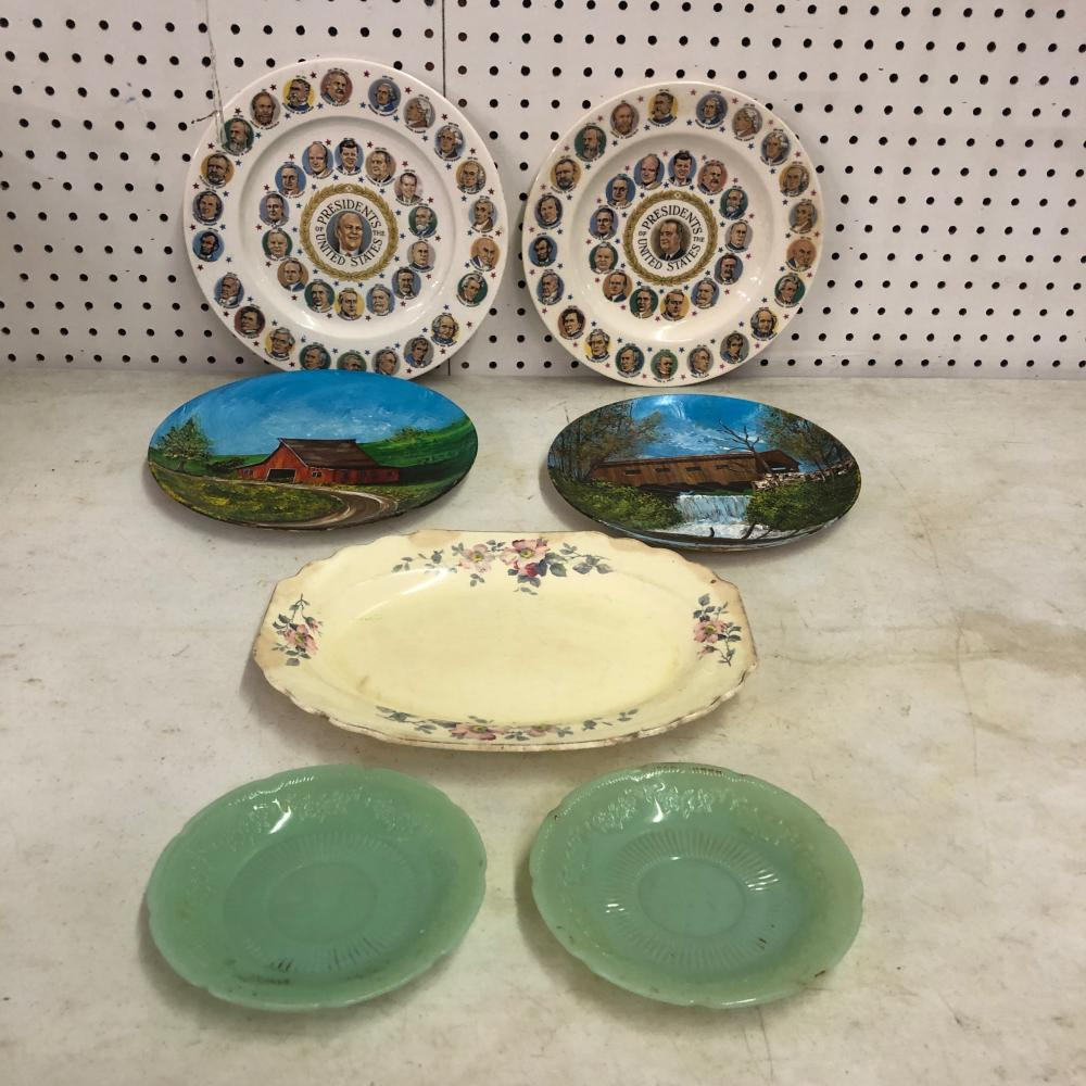 2 U S Presidential Plates, 2 Green Plates, Floral Antique Plate