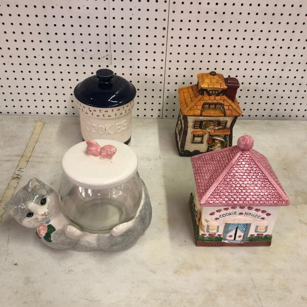 4 Cookie Jars 2 Houses, Kitty Cat, Flower