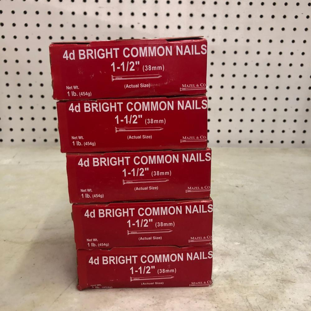 4 Boxes 4d Bright Common Nails 1-1/2